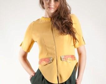 Yellow blouse, blouse with zipper, ornament blouse, tail blouse, original design blouse, handmade blouse, summer blouse, boat neck blouse