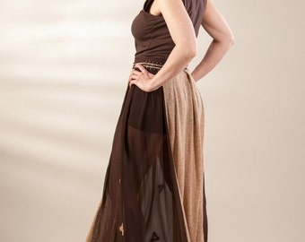 Brown and beige skirt, long skirt, elastic waist skirt, original skirt, jersey and chiffon skirt, see through skirt, unique skirt, recycled