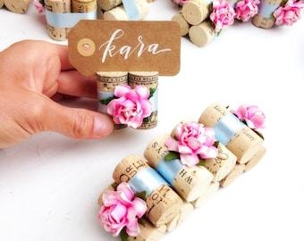 Pink Wedding Place Card Holder Winery Wedding Name Card Holder Wine Theme Wedding Bridal Shower Winery Wedding Decor Favors Pink Table Decor