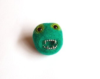 Green Monster Brooch -Bright Green Monster, Zombie Needle Felted Pheeple Face Character Pin