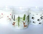 Woodland Christmas Glasses Set - candle holders/drinking glasses