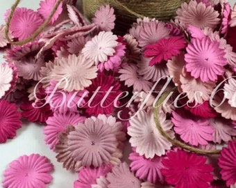 100 Mixed Pink color Mini flat Handmade Scrapbook Paper Flowers  Code 00