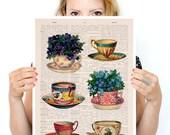 Vintage tea cups collection poster, Tea cup art, Kitchen art, home decor, Wall art poster, Kitchen wall art, Tea time, A3 poster BPTV073P