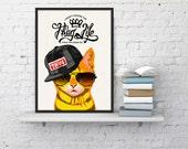 Wall art decor-Thug life Cat - Cat print on white paper. Gift for him- Wall decor art print-Funny animal art- Love gift WP168