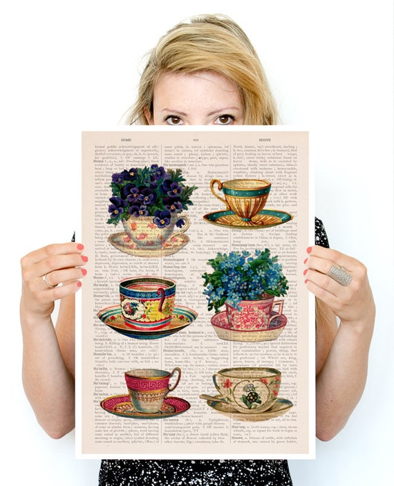 Vintage tea cups collection poster, Tea cup art, Kitchen art, art, Wall art Kitchen wall art, TVH230PA3
