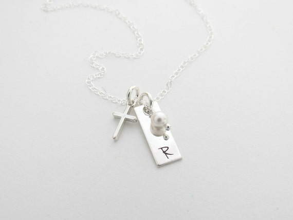 Personalized Cross Necklace - Godmother Gift - Childs Necklace - Baptsim - First Communion - Monogram Inital Necklace - Girls Necklace