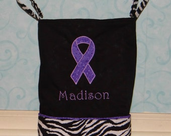 Tote Bag with Appliqued Awareness Ribbon, you choose the fabric