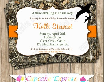 Camo Baby Boy Duck Hunting Baby Shower PRINTABLE Invitation 5x7 Camouflage  Orange Duckling