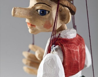 Small Pinocchio Hand Carved Marionette Puppet