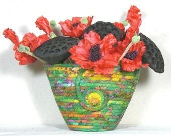 Batik Fabric Vase, Coiled Fabric Pottery, Clothesline Basket, Washable Basket, OOAK Coiled Basket, Coiled Rope Basket,Green  Basket Vase,