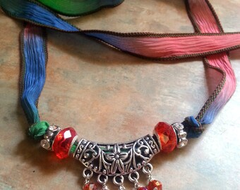Lovely, Colorful Silk Ribbon Necklace With Silver Centerpiece