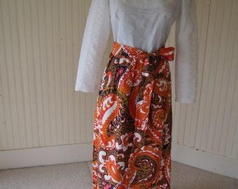 60s-70s Kimono Dress with Damask Patterned Skirt