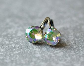 Green Iris Rainbow Earrings Swarovski Crystal Rare Rainbow Leverback Drop Square Earrings Rounded Square Mashugana