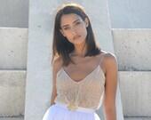 Maxi wedding dress, Tulle skirt doted top, boho wedding dress, simple wedding dress, golden jewelry belt