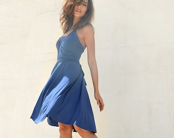 Blue bridesmaid dress ,sequins fabric at cleavage ,full circle knee length bridesmaid dress