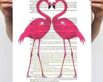 Animal painting illustration glicee drawing illustration portrait painting mixed media digital print POSTER 11x16: Flamingo heart