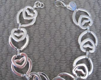 Heart in Heart Sterling Silver Bracelet