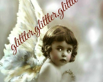 The Littlest Angel, White wings, altered art, vintage photograph