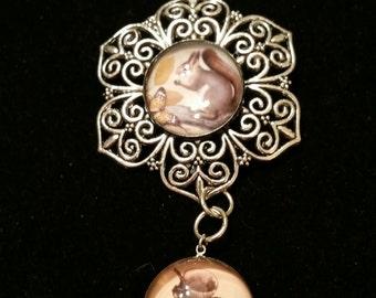 STEAMPUNK SQUIRREL BUTTON Necklace Victorian Acorn Ornamental Filigree Victorian