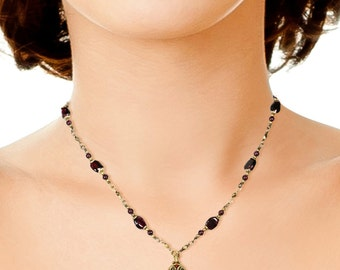 Vintage Looking Hamsa necklace Charm with Garnet Stones