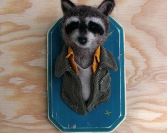 Custom Rascally Raccoon- Needle Felted Taxidermy