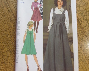 DESIGNER A-Line Jumper & Skirt with Clever Triangle Inset - Size 16 - UNCUT Vintage Sewing Pattern Simplicity 7260