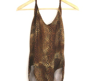 1980s Leopard Print Swimsuit Catalina Low Back Halter One Piece Full Piece Womens Vintage Large