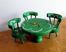 Vintage (3) piece hand painted wood dollhouse dining room table & chairs