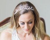 pearls hair vine, bridal vine headpiece, wedding headpiece with freshwater pearls - Leora - 150205