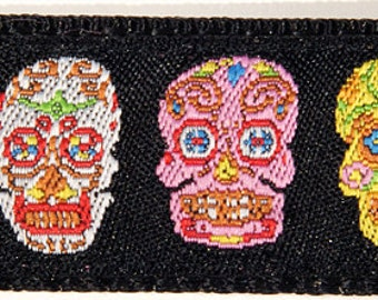 Colorful Sugar Skulls Dia de los Muertos Day of the Dead Dog Collar--Large, Medium Plus, Medium