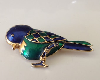 Bright Blue and Green Enamel Bird Brooch and Pendant
