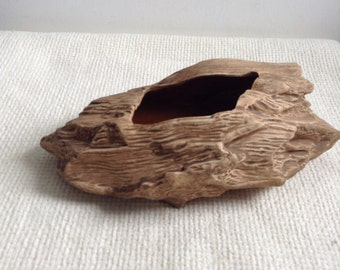 Numbered Driftwood Log Planter.    Tiki Bar, Mid century modern, Eames era. 1960's.
