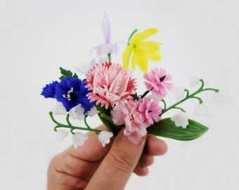 1 Vintage Plastic of Fabric Spring Flower Brooch Pin