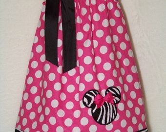 Minnie Mouse Pillowcase Dress / Pink / Zebra / Disney / Newborn / Infant / Baby / Girl / Toddler / Handmade / Custom Boutique Clothing