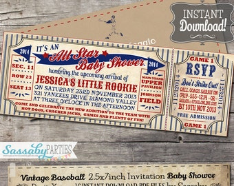 Vintage Baseball Baby Shower Invitation - INSTANT DOWNLOAD - Partially Editable & Printable Little Rookie Ticket Invite by Sassaby Parties