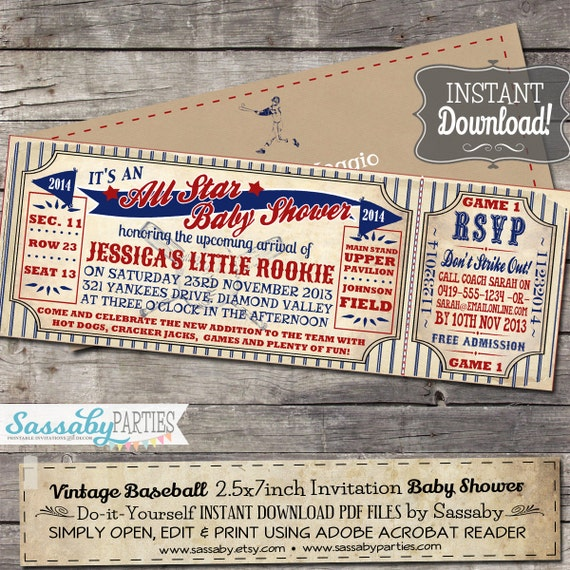 Vintage baseball baby shower invitation instant download il570xn pin it solutioingenieria Choice Image