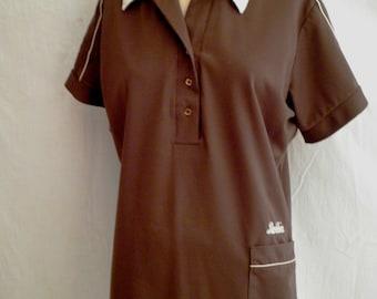 Vintage Bowling Shirt 1970's Woman's Bowling Shirt FL Bank Advertising Bobbie 2 Tone King Louie 44 bust