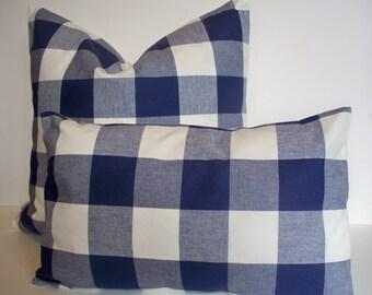Navy Buffalo Check Pillow Indigo Dark Blue Check Pillow Indigo Check Pillow Navy Gingham Pillow