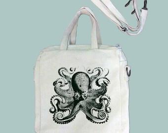 Vintage Octopus Illustration Canvas Purse, Tablet Bag/Carrier, Cosmetic Case -- Removable, Adjustable shoulder strap