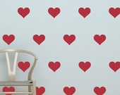"Heart Decals - Set of (35) 3"" Hearts - Vinyl Wall Decal Stickers"