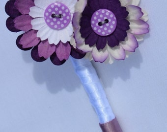 Purple Paper Flower Button Buttonhole / Boutonnière Alternative Wedding