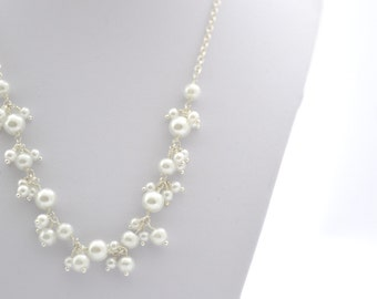 Pearl Cluster Necklace, Bridal Jewellery - UK Seller
