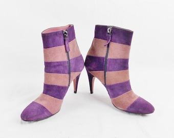 GIANFRANCO FERRE Avant Garde Stripe  Ankle Boots Booties Suede Street style Size 38/8 Steampunk