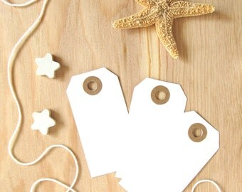White Tags, Kraft Reinforced Holes, Gift Tags, Party Favor Tags, Weddings, Showers, Set of 20