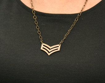 Chevron Necklace Double Chevron Navy Army - made from US Navy pin