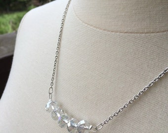 White Silver Crystal Carrie Bradshaw Necklace