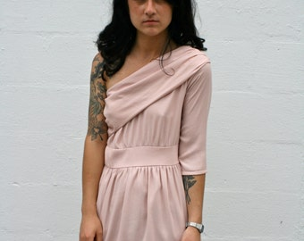 Powder Pink One Shoulder Mini Dress