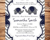 Elephant Baby Shower Invitation, Baby Shower Invitation Elephant, BOY, Gray, Navy, digital, Elephant, Boy, Navy, gray, 1398