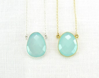 Aqua Chalcedony Pendant Necklace - Aqua Chalcedony - Gold Pendant - Silver Pendant