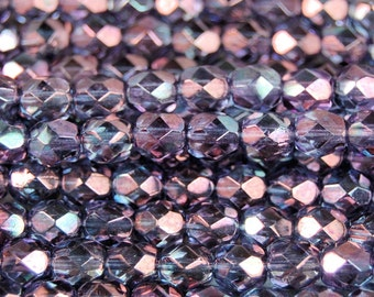 Amethyst Crystal Luster Czech Glass Bead 6mm Faceted Round - 25 Pc